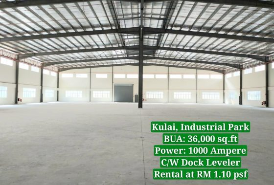 Johor Factory Malaysia Industry 20190828_132743_mh1566975025826-560x380 Brand New Factory at Kulai,Indahpura Industrial Park with Dock Leveler For Sell (PTR129)