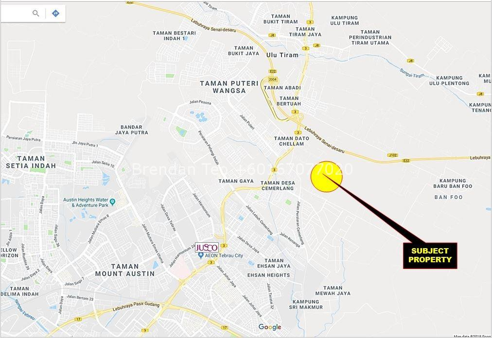 Johor Factory Malaysia Industry map-1 Desa Cemerlang, Medium Ind. Factory with Overhead Crane & 1000 Amp For Rent(PTR137)